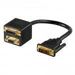 DVI Y-Adapter, 1 x DVI Stecker / 1 x DVI Buchse + 1 x VGA Buchse