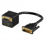 DVI Y-Adapter, 1 x DVI Stecker / 1 x DVI Buchse + 1 x HDMI Buchse