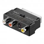 Audio/Video Scartadapter, 3 x Chinch Buchse, 1 x 4-pol. Mini-DIN Buchse, mit In/Out Umschalter