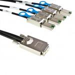 externes SAS Kabel, ext. SAS Stecker (SFF-8470) auf 4 x ext. mini SAS Stecker (SFF-8088), 2 m